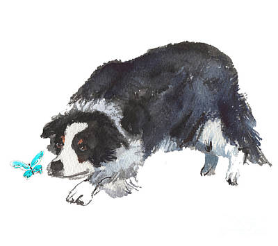 Painting - The Collie And Blue Butterfly by Kathleen McElwaine