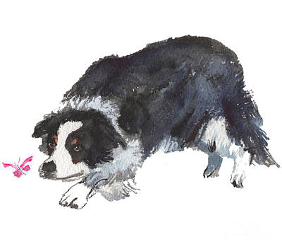 Painting - The Collie And Pink Butterfly by Kathleen McElwaine