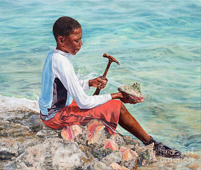 Painting - The Conch Boy by Roshanne Minnis-Eyma