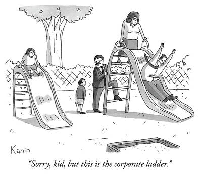 Drawing - The Corporate Ladder by Zachary Kanin