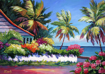 Caribbean House Wall Art - Painting - The Cottage On The Corner by John Clark