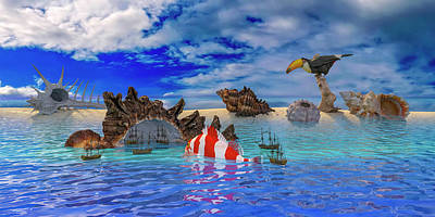 Fantasy Digital Art - The Cove by Betsy Knapp