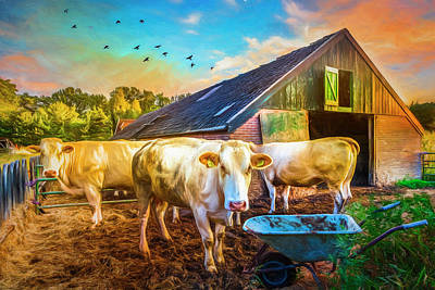 Photograph - The Cows Came Home Painting by Debra and Dave Vanderlaan