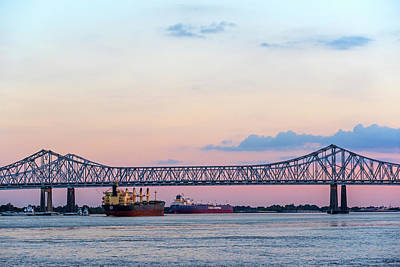 Photograph - The Crescent City Connection Bridge At Sunset New Orleans Louisiana Mississippi River by Toby McGuire