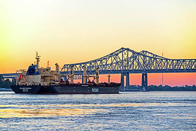 Photograph - The Crescent City Connection Bridge Sunset New Orleans Louisiana Mississippi River by Toby McGuire
