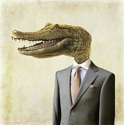 Reptiles Digital Art - The crocodile by Mihaela Pater