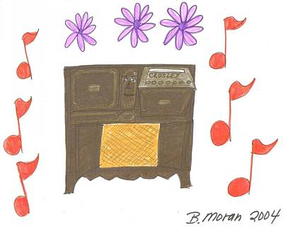 Drawing - The Crosley Console by Barb Moran