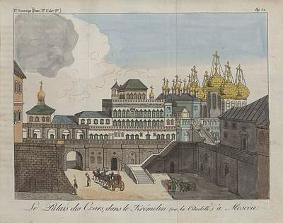Painting - The Czar S Palace  In The Kremelin  Or The Citadel In Moscow 1808 by Celestial Images