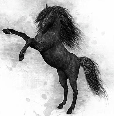 Digital Art - The Dark Horse by Ian Mitchell