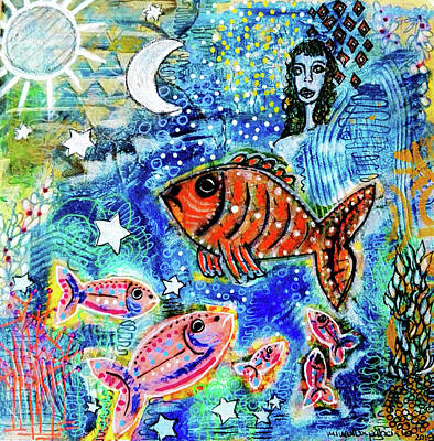 Mixed Media - The Day The Stars Fell Into The Ocean by Mimulux patricia No