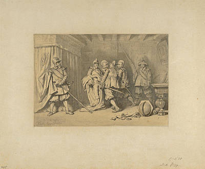 Drawing - The Dead Wallenstein Being Carried Away By Soldiers by Karl Theodor von Piloty