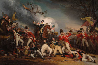Landmarks Painting Royalty Free Images - The Death of General Mercer at the Battle of Princeton - John Trumbull Royalty-Free Image by War Is Hell Store