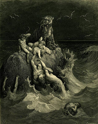 Painting - The Deluge By Gustave Dore, Woodcut by Fine Art Images