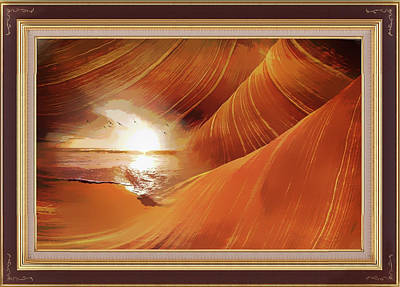 Mixed Media - The Desert And The Tide Fantasy by Clive Littin