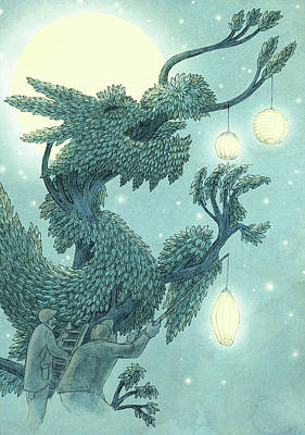 Blue Drawing - The Dragon Tree - Night by Eric Fan