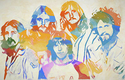 Music Paintings - The Eagles Color Sketch by Dan Sproul
