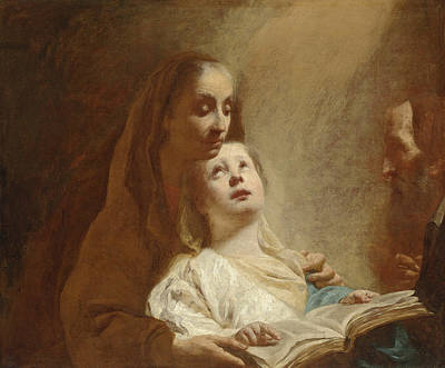 Painting - The Education Of The Virgin by Attributed to Giovanni Battista Piazzetta