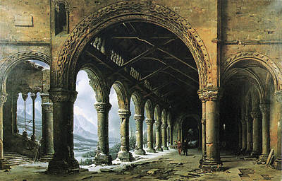 Painting - The Effect Of Fog And Snow Seen Through A Ruined Gothic Colonnade by Louis Daguerre