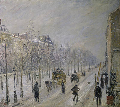 Painting - The Effect Of Snow On The Boulevards by Peter Willi