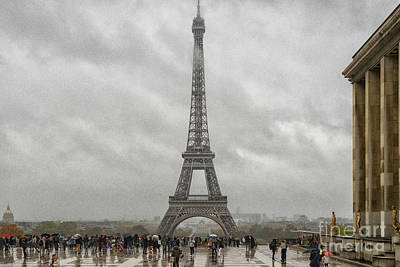 Art History Meets Fashion Rights Managed Images -  The Eiffel Tower Paris France Cloudy Day Moody Skies Royalty-Free Image by Wayne Moran