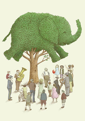 Green Drawing - The Elephant Tree by Eric Fan
