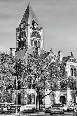 Photograph - The Erath County Courthouse Black And White by JC Findley