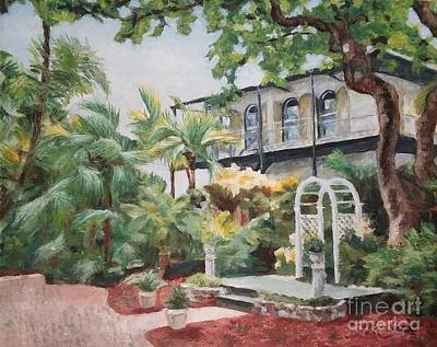 Hemingway House Wall Art - Painting - The Ernest Hemingway House And Museum In Key West, Usa by Helen Sviderskis