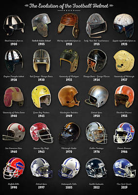 Best Sellers - Sports Royalty-Free and Rights-Managed Images - The Evolution of the Football Helmet by Zapista OU