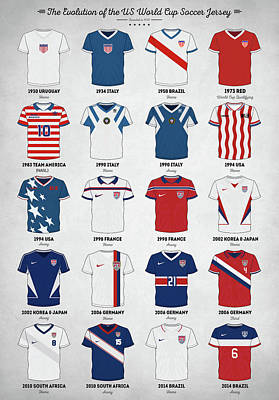Sports Royalty-Free and Rights-Managed Images - The Evolution of the Us World Cup Soccer Jersey by Zapista OU