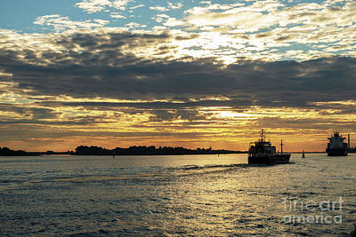 Photograph - The Exit Of Ships Into The Sea At Sunset by Marina Usmanskaya