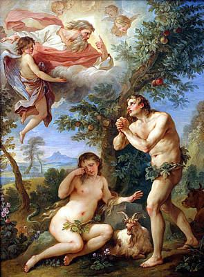 Painting - The Expulsion From Paradise by Charles Joseph Natoire 1700-1777