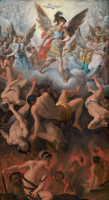 Christian Artwork Painting - The Fall Of The Rebel Angels by Eugenio Cajes