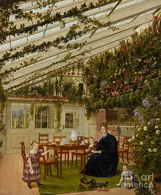 Painting - The Family Of Mr Westfal In The Conservatory, 1836  by Eduard Gaertner
