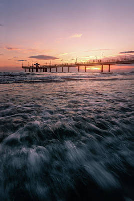 Photograph - The Fiery Pier - A Pier At Sunset In Versilia, Tuscany, Italy by Matteo Viviani