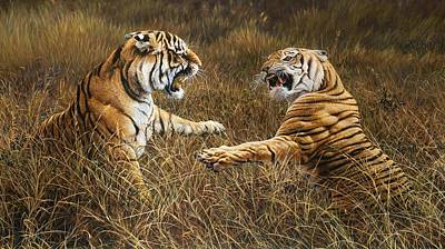 Painting - The Fight - Tigers Feud By Alan M Hunt by Alan M Hunt