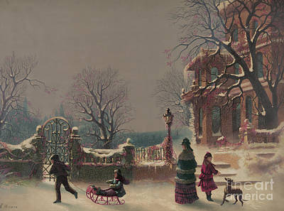 Dog Christmas Cards Wall Art - Painting - The First Snow, 1877 by CF Witman