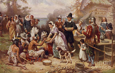 Painting - The First Thanksgiving 1621 by Jean Leon Gerome Ferris