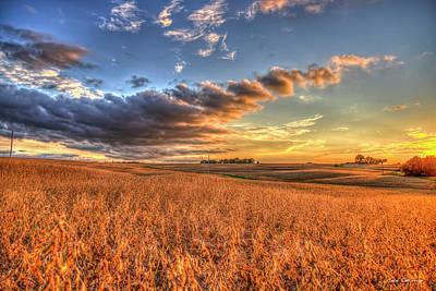 Photograph - The Fleeting Sunset 2 Missouri Soybean Farming Landscape Art  by Reid Callaway