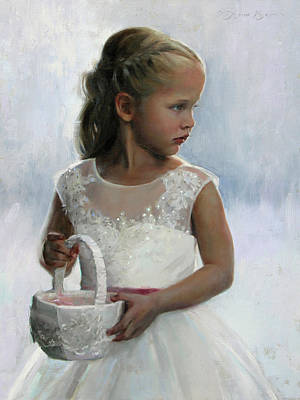 Miniature Painting - The Flower Girl by Anna Rose Bain