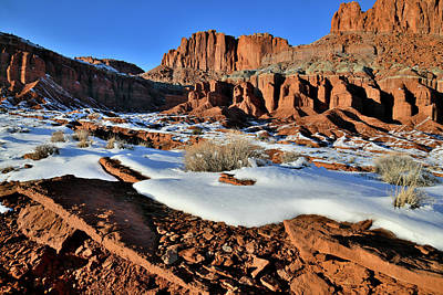 Photograph - The Fluted Wall Of Capitol Reef Np by Ray Mathis