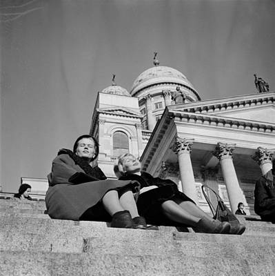 Painting - the friends enjoy the warmth on the steps of the Cathedral  Helsinki 22 2 1961  Photographer Arto Jo by Celestial Images
