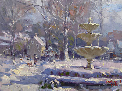 Fountain Wall Art - Painting - The Frozen Fountain by Ylli Haruni