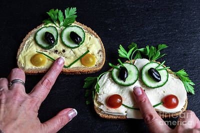 Photograph - The Funny Sandwiches On The Slate Board And Womans Hands by Marina Usmanskaya