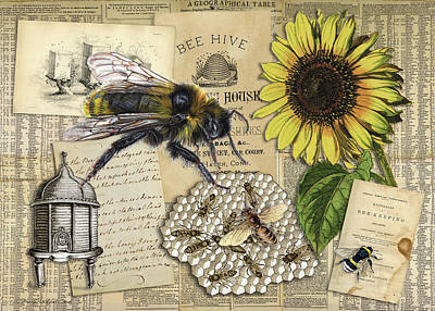 Digital Art - The Fuzzy Bee by Terry Kirkland Cook