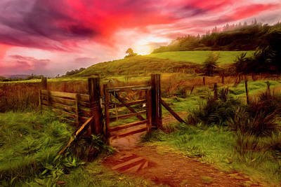 Photograph - The Gate At Sunrise Painting by Debra and Dave Vanderlaan