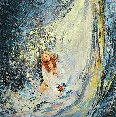 Painting - The Girl Under The Waterfall Bis by Miki De Goodaboom