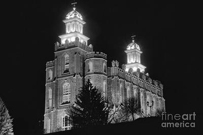 Photograph - The Glowing Logan Temple Black And White by Adam Jewell