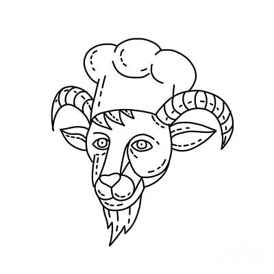 Animals Royalty-Free and Rights-Managed Images - The Goat Chef Cook Baker Mono Line by Aloysius Patrimonio