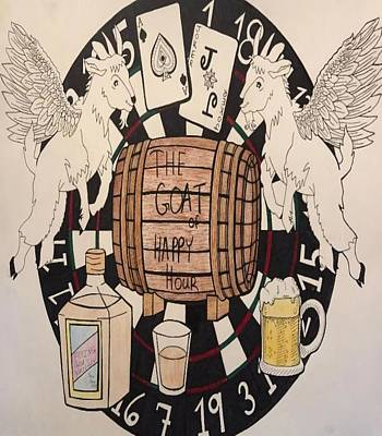 Beer Drawings - The Goat of Happy Hour by Cora Moore
