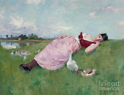 Painting - The Goose Girl by Albert-Emile Artigue